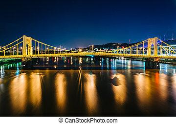 przedimek określony przed rzeczownikami, andy, warhol, most, na, przedimek określony przed rzeczownikami, allegheny rzeka, w nocy, w, pittsburgh, pennsylvania.