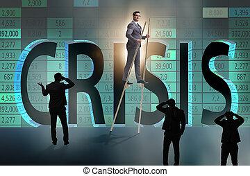 przedimek określony przed rzeczownikami, biznesmen, chodząc na szczudle, -, stanie na zewnątrz od tłumu