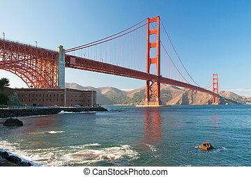 przedimek określony przed rzeczownikami, brama złotego most, w, san francisco, podczas, przedimek określony przed rzeczownikami, zachód słońca