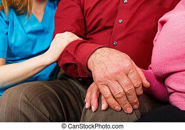 przedimek określony przed rzeczownikami, dopomagając rękom