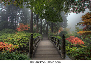 przedimek określony przed rzeczownikami, most, w, japoński ogród