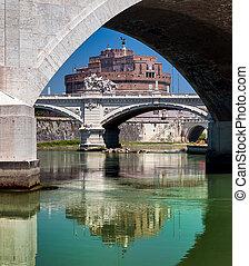 przedimek określony przed rzeczownikami, mosty, na, tiber rzeka, z, castel sant angelo, w, tło, rzym, włochy