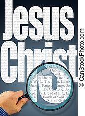 przedimek określony przed rzeczownikami, nazwa, jezus chrystus, pod, obserwacja, z, szkło powiększające
