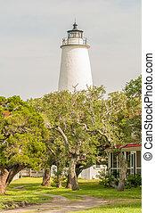 przedimek określony przed rzeczownikami, ocracoke, latarnia morska, i, keeper's, mieszkanie, na, ocracoke, wyspa
