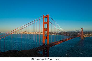 przedimek określony przed rzeczownikami, sławny, brama złotego most, w, san francisco, kalifornia