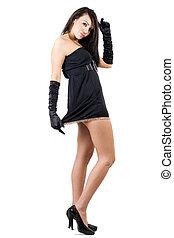 przedimek określony przed rzeczownikami, sexy, młoda kobieta, w, niejaki, czarnoskóry, dress., odizolowany
