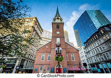 przedimek określony przed rzeczownikami, stary, południe, spotkanie dom, boston, massachusetts.