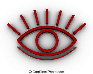 przedimek określony przed rzeczownikami, stylised, oko