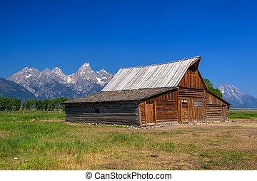 przedimek określony przed rzeczownikami, t., a., moulton, stodoła, jest, niejaki, historyczny, stodoła, w, wyoming, stany zjednoczony
