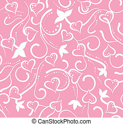 przedimek określony przed rzeczownikami, valentine dzień, różowy, kwiatowy, seamless, z, serca
