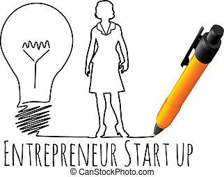 przedsiębiorca, samica, do góry, handlowy, początek