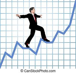 przedsiębiorca, wspinać się, wykres, zerwać się