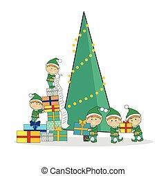 przedstawia się, uszczelka, drzewo, boże narodzenie, elfy