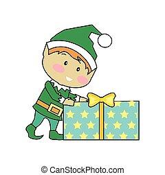 przedstawia się, wróżka, boże narodzenie, elfy