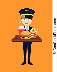 przedstawiając, mocny, pilot, pokarmy, -