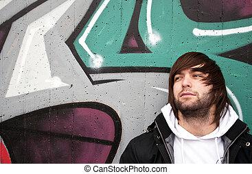 przedstawianie, barwny, młody, ściana, człowiek, graffiti, przód