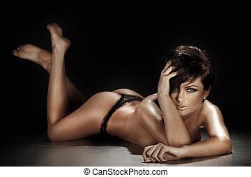 przedstawianie, kobieta, brunetka, leżący, sexy