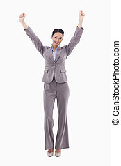 przedstawianie, portret, kobieta interesu, herb do góry, szczęśliwy