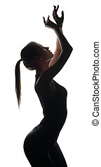 przedstawianie, tancerz, sylwetka, aparat fotograficzny, drobna