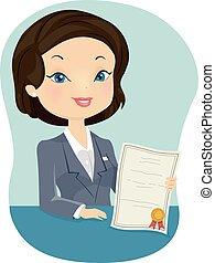 przedstawiciel, dziewczyna, ubezpieczenie, świadectwo
