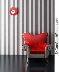 przedstawienie, nowoczesny, 3d, fotel