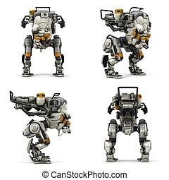 przedstawienie, robot, odizolowany, 3d