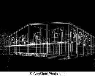 przedstawienie, rys, projektować, dom