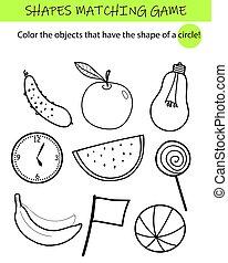 przedszkole, dopasowując, oświatowy, modeluje, game., kids., zadanie, school., preschool, worksheet