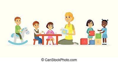 przedszkole, -, rysunek, ludzie, litery, odizolowany,...