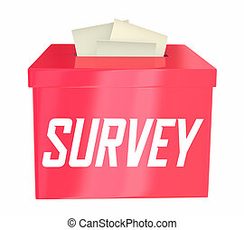 przegląd, boks, zdanie, zbiór, poll, ilustracja, 3d, odpowiedź, bilety, szczelina