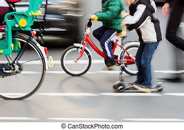 przejście, bicycles, ulica, dzieci