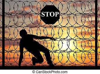przejście, brzeg, illegally, sylwetka, uciekinier