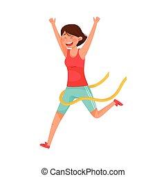 przejście, kreska, wyścigi, ubranie sportowe, kobieta, ...