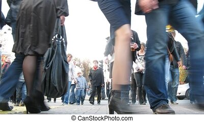 przejście, ludzie, sokolniki, tłum, idzie, popołudnie, pieszy