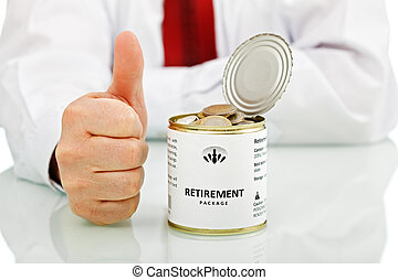 przejście na emeryturę, do góry, znak, kciuki, biznesmen, senior