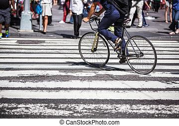 przejście, nyc, manhattan, rower, człowiek