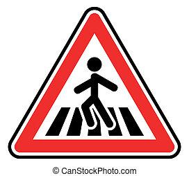 przejście, pieszy, znak