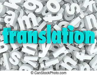przekład, 3d, litera, tło, interpretować, język, treść