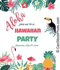przelotny deszcz, flaming, afisz, -, tropikalny, zaproszenie, kwiatowy, tukan, niemowlę, ślub, karta