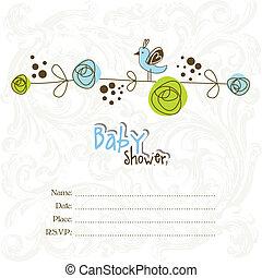 przelotny deszcz, niemowlę, kopia, sp, zaproszenie