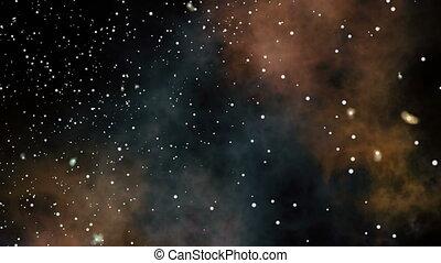 przelotny, gwiazda, pola, mgławica, głęboki, przez, space.