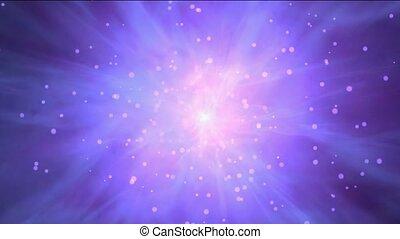 przelotny, mgławica, &, promienie, laser, w, przestrzeń