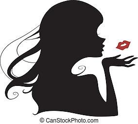 przelotny, pocałunek, sylwetka