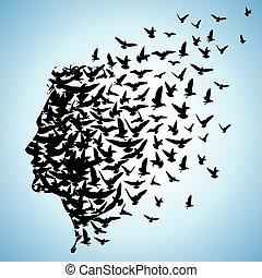 przelotny, ptaszki, do, ludzka głowa