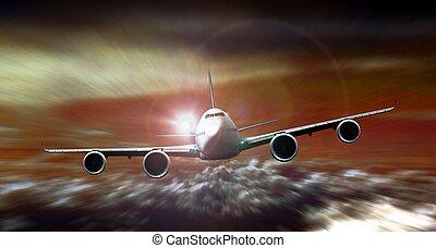 przelotny, ruch, zachód słońca, plama, podczas, samolot