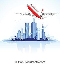 przelotny, samolot, na, głąbik miasta