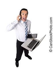 przemęczony, senior, biznesmen, multitasking, z, komputer, palcowa pastylka, i, ruchoma głoska, w, siła