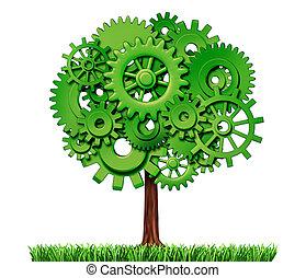 przemysł, handlowy, powodzenie, drzewo