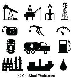 przemysł, nafta, komplet, ikona