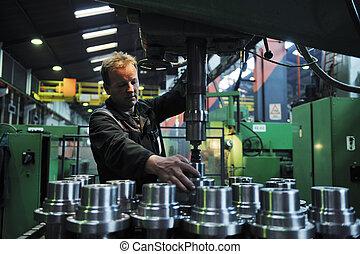 przemysł, pracownicy, fabryka, ludzie